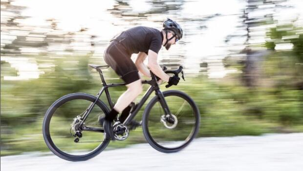 Bicyclist in Motion Panning Shot