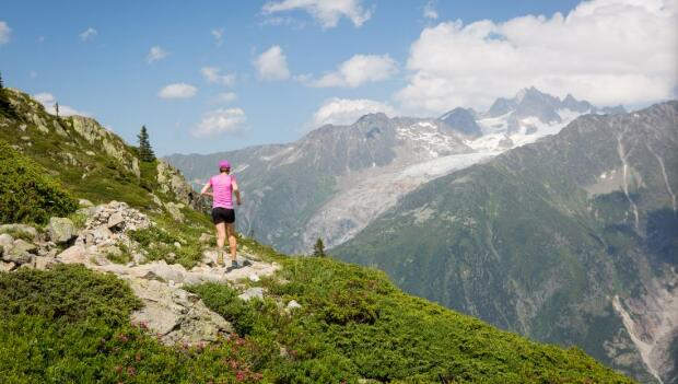 Female Trail Running in Mountains