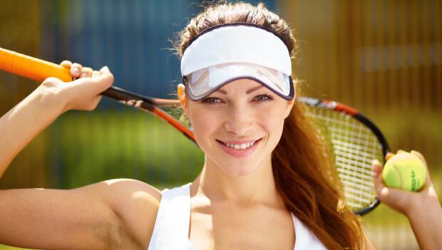 Smiling Female Tennis Player