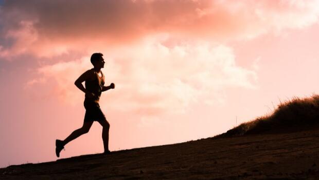 Man Running Outdoors Alone