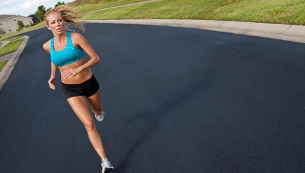 Blond Woman Running