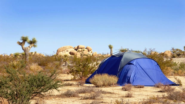 Camping Tent in Mojave Desert