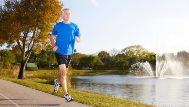Old Man Running by Lake