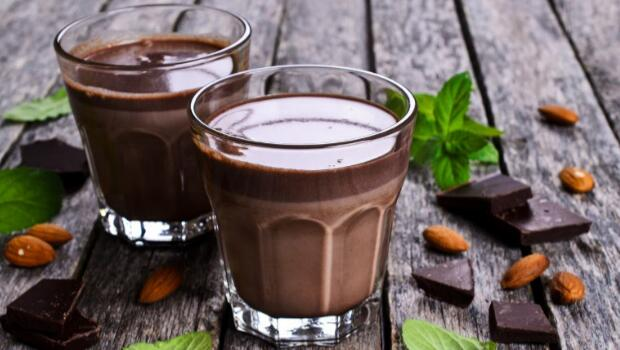 Two Glasses of Chocolate Milk