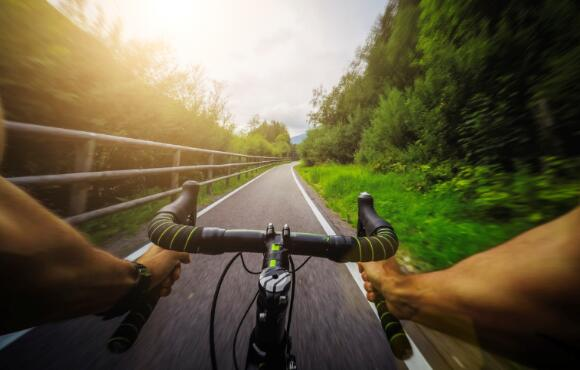 Cyclist Rides Hard