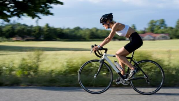 Athletic woman cyclist