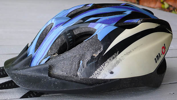 damaged bike helmet