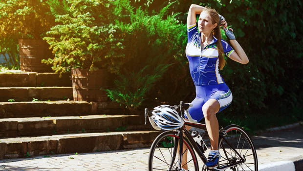 Cyclist Stretching