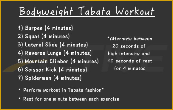 30 Minute Bodyweight Tabata Workout