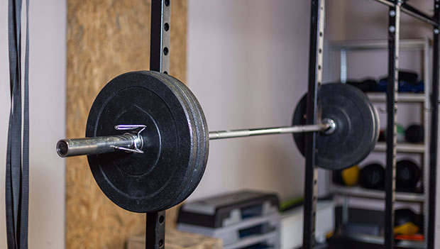 barbell on a rack