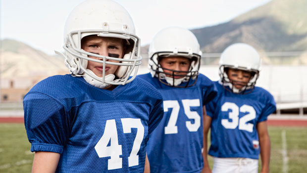 Pop Warner football players