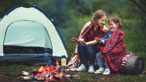 Mom and Daughter by Campfire