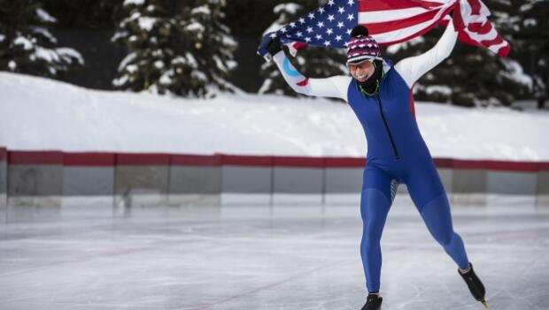 Speedskater with American Flag