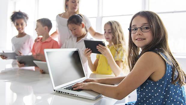 kid at a computer