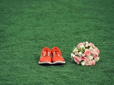 Sneakers and flowers