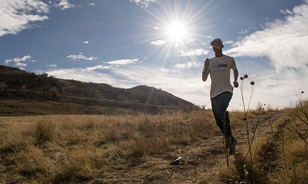 man running in the sun