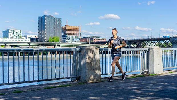 woman running in Portland Oregon