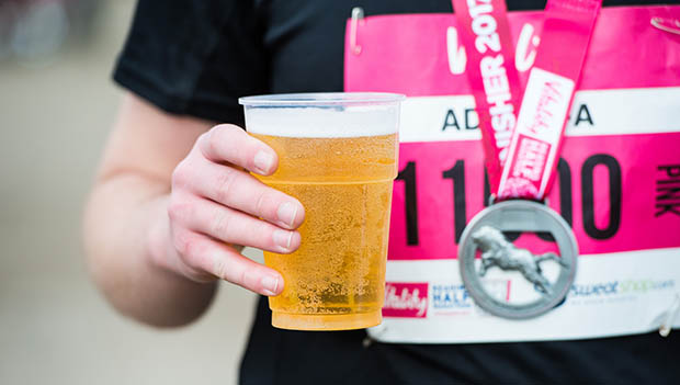 runner with a beer