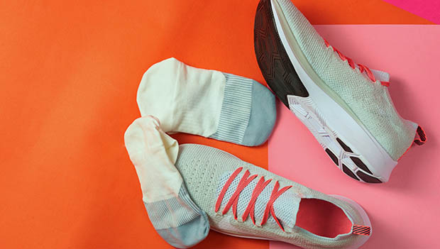 running shoes and socks