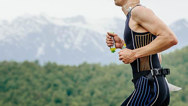 triathlete running with food