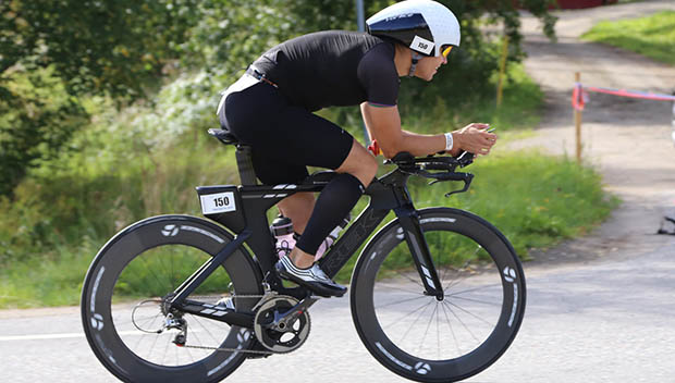 triathlete on the bike