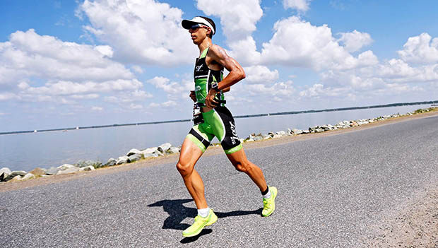 man running in a triathlon